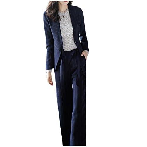 Abetteric Womens OL Office Wide Leg Pinstripe Blazer 2-Piece Suits Set supplier