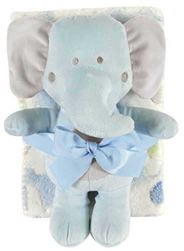 Stephan Baby Ultra-Soft Coral Fleece Crib Blanket and Plush Blue Elephant Toy Gift Set