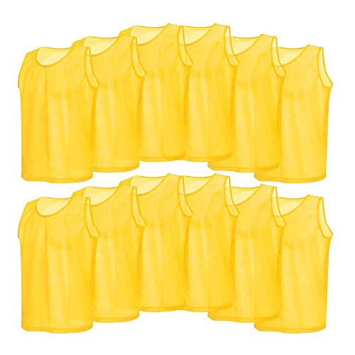 (12 Pack Mesh Scrimmage Training Vests Football Vest Breathable Adults Jerseys Bibs for Volleyball Soccer Basketball (Color : Yellow))
