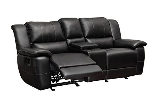 1PerfectChoice Lee Black Transitional Motion Loveseat