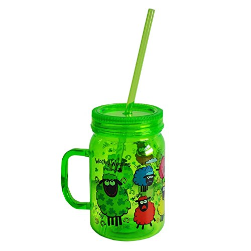 (Wacky Woollies Designed Mason Jar with Straw, Green in Colour)
