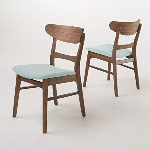 Christopher Knight Home Idalia Dining Chairs, 2-Pcs Set, Mint / Walnut Finish