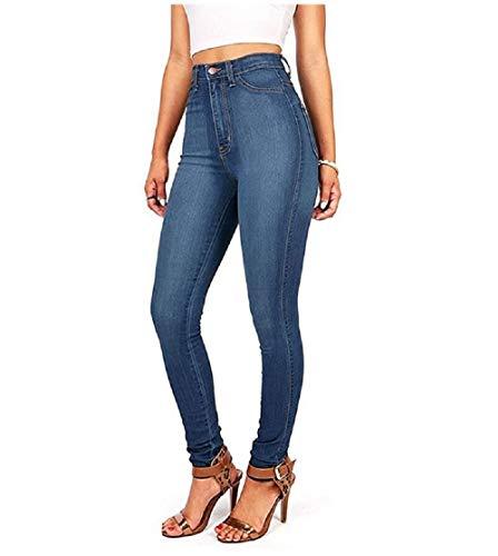 Zhrui Donna Jeans Pantaloni Fit Blu Alta Eleganti Slim Vita rwqrSXB