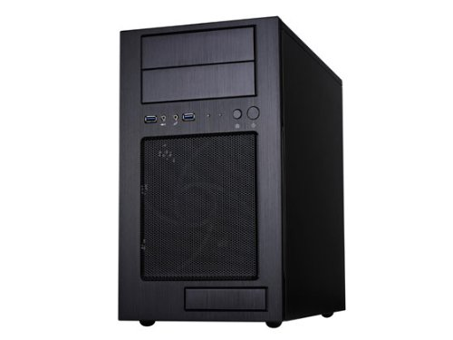Silverstone Tek Micro-ATX Mini-DTX, Mini-ITX Mid Tower Computer Case with Aluminum Front Panel and Steel Body TJ08B-E - Black