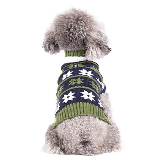 kyeese Dog Sweater with Leash Hole Turtleneck Dogs Pullover Knitwear Fall Winter Warm Pet Sweater Cat Sweater