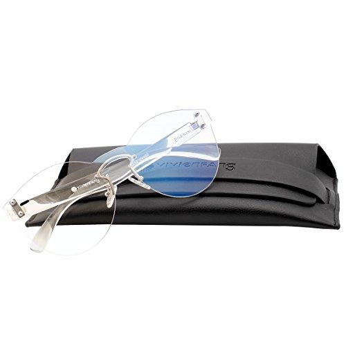 VIVIENFANG Lightweight One Piece Rimless Sunglasses Tinted Color Lens Cateye Shades P2212C - Rimless Sunglasses Monoblock
