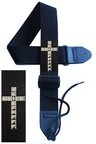 Legacystraps Christian RS Guitar Strap with Square Pyramid Silver Cross