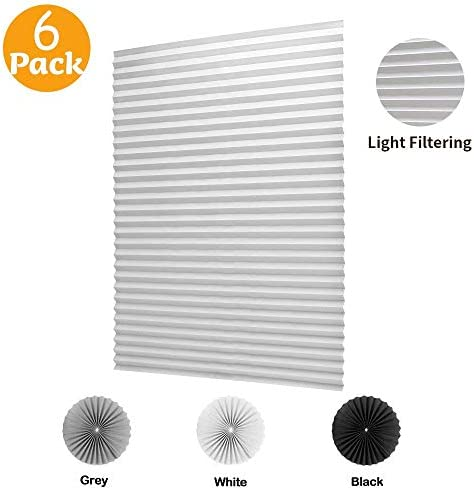 LUCKUP 6 Pack Cordless Light Filtering Pleated Fabric Shade,Easy to Cut and Install, with 12 Clips 48 x72 – 6 Pack, White
