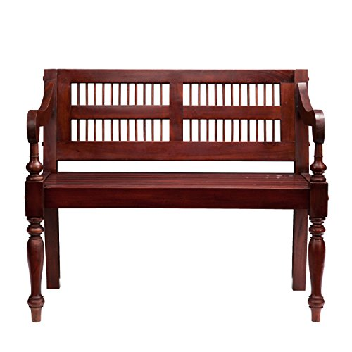 Linon Bench Storage - Southern Enterprises Classic Entryway Bench with Turned Legs, Solid Warm Mahogany Finish
