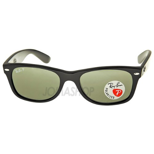 Crystal Green Sunglasses (Ray-Ban rb2132 Unisex New Wayfarer Polarized Sunglasses, Black/Crystal Green, 52mm)