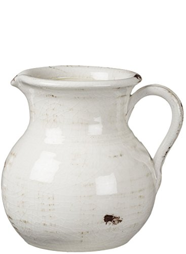 Sullivans White Ceramic Vase, Distressed White Pitcher for Rustic Home Decor, 8 x 9 Inches (CM2515)