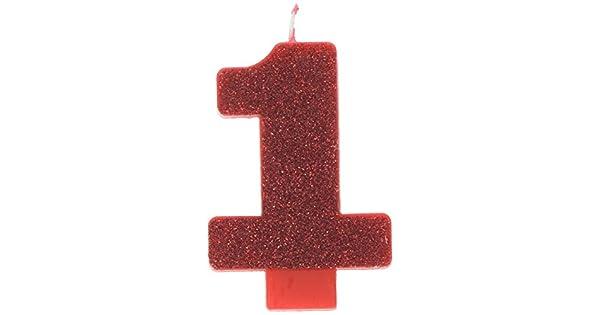 Amazon.com: Rojo # 1 Cumpleaños Glitter 3.25