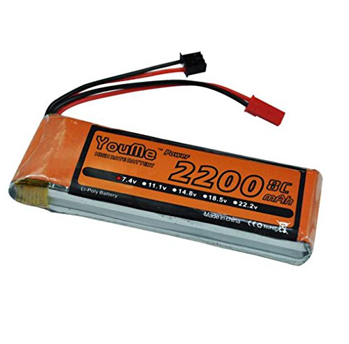 (Youme Receiver&Transmitter LiPo Battery Pack 2S 2200mah 7.4V 8C with JST Plug for Hubsan H501S X4 Advanced Transmitter(3.90 x 1.18 x 0.59 in ,0.18lb ) )
