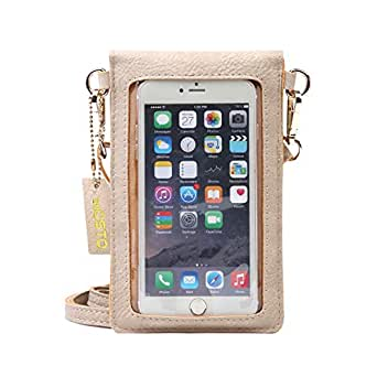 seOSTO Women's Crossbody Bag Cell Phone Purse Wallet (Beige)