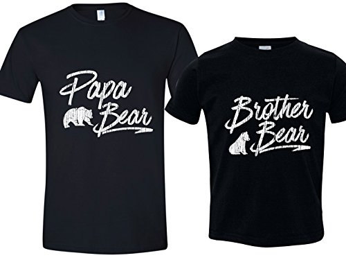 Matching Papa Bear Tshirt, Brother Bear Tshirt, Mens Lg & Black Youth Small 6-8