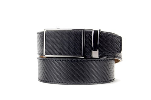 Black Carbon Classic Leather Dress Belt for Men with Automatic Buckle - Nexbelt Ratchet System ()