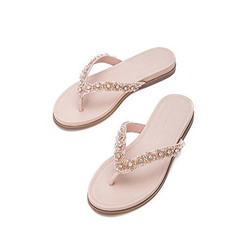 de Sandalias Planas de DHG Punta Ocasionales Moda Verano de Zapatillas Sandalias Color Mujer Dulces S de Sandalias de AAzvwqO
