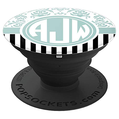 AJW Monogram Pop Socket Blue Damask Initials AJW or AWJ - PopSockets Grip and Stand for Phones and Tablets from Monogram AJW / AWJ Phone Grip
