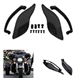 Adjustable Side Wings Windshield Windscreen Air Deflectors Fairing Side Cover Shield For Harley Touring Street Glide 2014-2017 (Black)