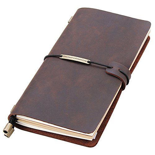 Leather Writing Journal Notebook Refillable, Handmade Travelers Notebook for Men & Women, Perfect for Writing, Gifts, Travelers, Standard Size 8.5 x 4.5 Inches - Coffee