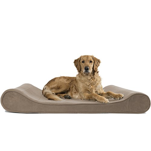 Furhaven Pet Jumbo Microvelvet Luxe Lounger Orthopedic Pet Bed, Clay, Jumbo