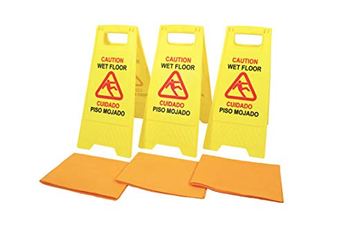 Extraordinaire Wet Floor Sign 3 Pack Caution Safety Warning 2 Sided Bilingual English Spanish Cuidado Piso Mojado Folding Durable Plastic Bright Red Yellow Color with 3 Reusable High Absorbent Chamois