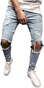 Zainafacai Men's Skinny Slim Fit Distressed Ripped Jeans Denim Pants Stretchy Destroyed Moto Biker Denim P
