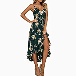 Amofiny Summer Dresses For Women Fashion Casual Sexy Sleeveless Off Shoulder Slim Printed Maxi Dress Green