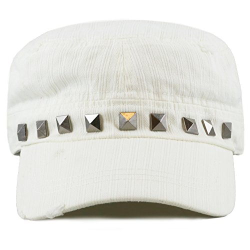 THE HAT DEPOT Women's Distressed Cotton Cadet Cap with Studs (White)
