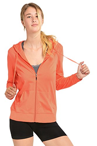 Sofra Women's Thin Cotton Zip Up Hoodie Jacket (M, Coral) ()