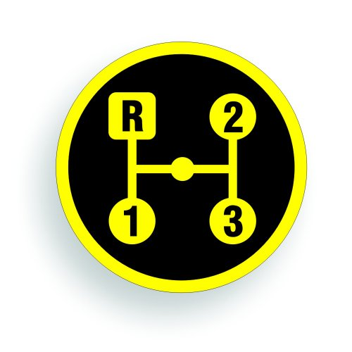 Transmission Shift Pattern Decal - International Scout Model 80 3 Speed - 2 inch round