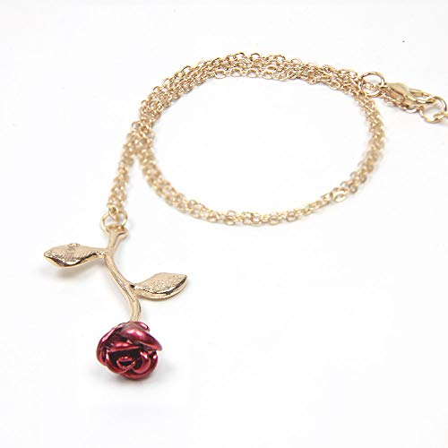 18k Gold and Silver necklaces women personalized long necklaces for women gold necklace rose pendant flower jewelry for girl teen women wife girlfriend friends gift original by Arget (gold)