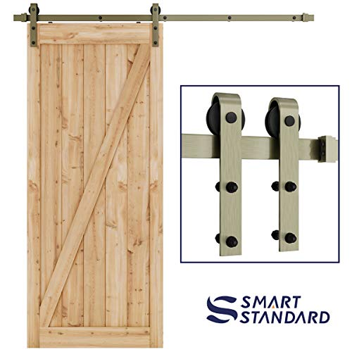 (SMARTSTANDARD 6.6ft Heavy Duty Bronze Sliding Barn Door Hardware Kit -Smoothly and Quietly-Easy to Install - Includes Step-by-Step Installation Instruction Fit 36
