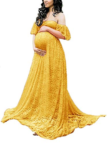 - Women's Off Shoulder V Neck Ruffle Short Sleeve Floral Lace Maternity Gown Ruched Dress Baby Shower Party Cocktail Long Maxi Photography Dress for Beach Photo Shoot Yellow X-Large