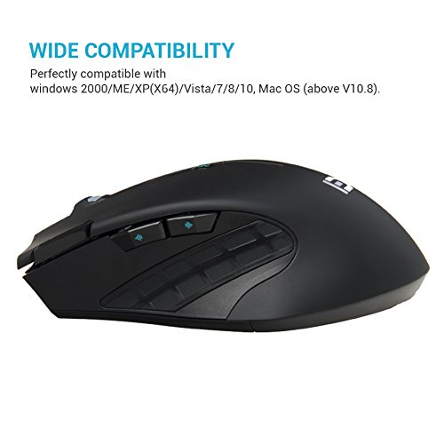 Wireless Gaming Mouse - 2.4GHz Optical Ergonomic USB Mice with Fire Button 6 Adjustment DPI 7 Buttons 6 Colors Breathing Lights for Mac Laptop PC Photo #2