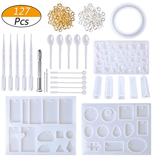 (LAMPTOP Resin Casting Molds and Tools Set, Jewelry Molds Include 127Pcs Assorted Styles Silicone Molds, Stirrers, Droppers, Spoons, Hand Twist Drill and Screw Eye Pins for Pendant Jewelry Making)