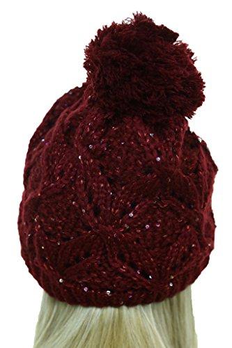 ICE (6427-5) Pompon Beanie de punto trenzado con de las lentejuelas y tachuelas Rojo