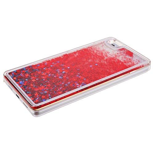 Funda para Huawei P8 Lite, Caja de plástico transparente para P8 Lite, SMART LEGEND Dual Layer 3D Líquido Glitter Glitter Shiny Gloss Sparkle Clear Dynamic Quicksand Case Cover Skin Shell Carcasa Fund Estrella Roja