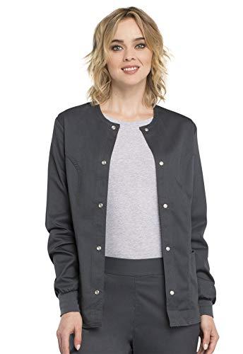 Cherokee Women's Scrubs Luxe Snap Front Warm Up Jacket, Pewter, Small (M 51 Field Jacket)