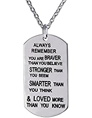 lauhonmin Always Remember You are Braver/Stronger/Smarter Than You Think Pendant Necklace Family Friend Gift Unisex