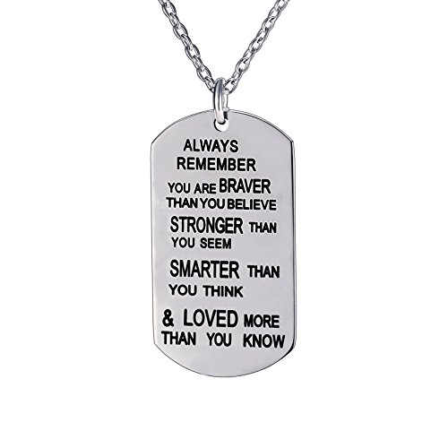 lauhonmin Always Remember You are Braver/Stronger/Smarter Than You Think Pendant Necklace Family Friend Gift Unisex(Made of Stainless Steel)]()