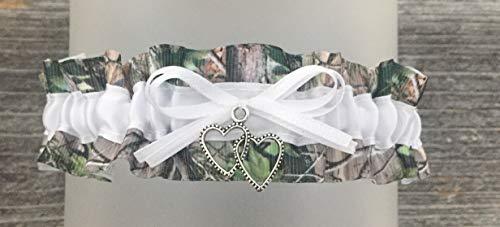 Sexy Camouflage White Satin Wedding Keepsake Camo Bridal Garter - Double Heart Charm