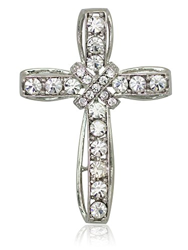 Akianna Silver-tone Swarovski Element Clear Crystals Cross Pin Brooch -
