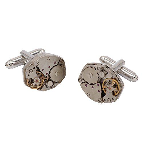 retro designer Mechanical watch gear movements cufflinks ,hexagon bullet cufflinks, brass plated white steel, silver clock cufflink (Gear Cufflinks Clock)