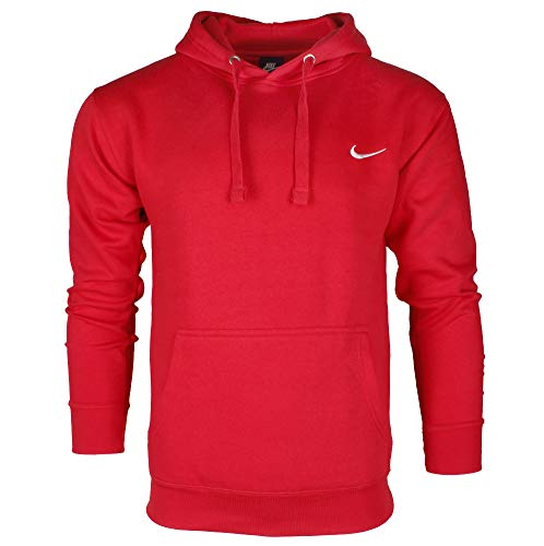 - Nike Men's Long Sleeve Embroidered Swoosh Fleece Pullover Hoodie Red M