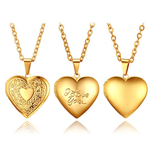 (Golden George Women's Lovely Peach Locket Heart Pendant Necklace Photo Frame Pendant Sweater Necklace Fashion Romantic Jewelry Set Carved Flower Pattern/Love You/Smooth Face 3 Various Styles)