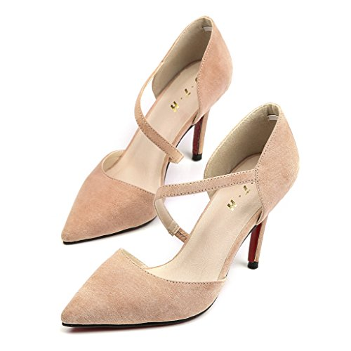 Beige Chaussure Hauts Stiletto Aiguille Fermé Pointue Talons Escarpin Femme Résistant Escarpins Sandale qZtHxPw