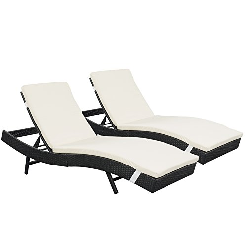 Outdoor Furniture Patio 2-Pack Lounge Chairs Adjustable PE Rattan Wicker Chaise Lounges With Cushion