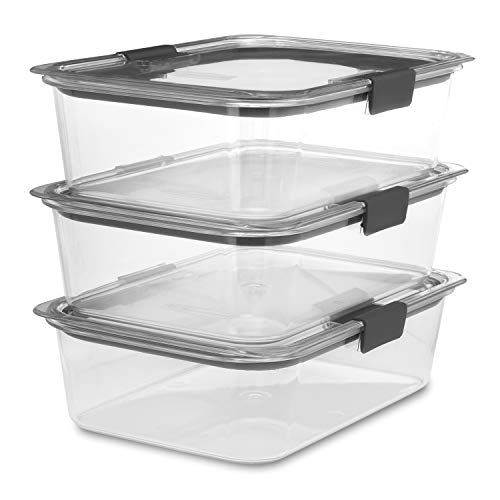 Rubbermaid Brilliance Food Storage Container, Large, 9.6 Cup, Clear, 3 Pack (Storage For Container Freezer)