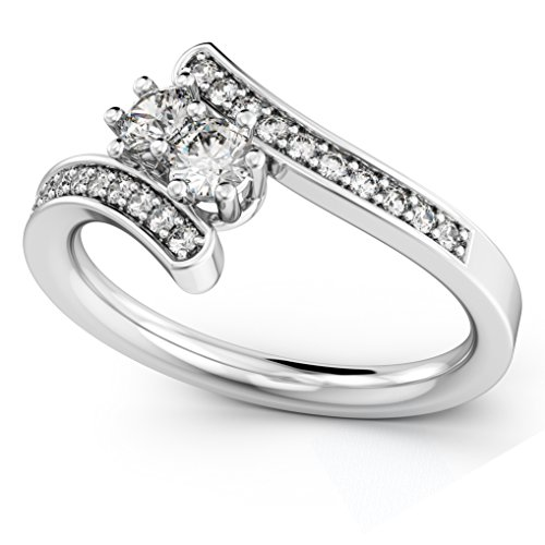 Women's Diamond Accented Two Stone Curved Tension Ring Platinum (0.70ct)